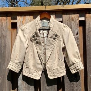 {Anthro} Ryn faux leather ivory cropped jacket